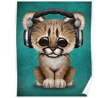 Cute Cougar Cub Dj Wearing Headphones on Blue Poster