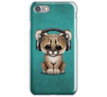 Cute Cougar Cub Dj Wearing Headphones on Blue iPhone Case/Skin