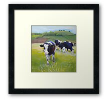 Holstein Friesian Cows Painting Framed Print