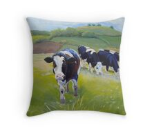 Holstein Friesian Cows Painting Throw Pillow