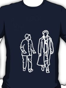 Sherlock and John-white outline T-Shirt