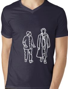 Sherlock and John-white outline Mens V-Neck T-Shirt