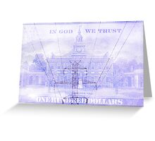Double exposure high voltage power lines with hundred dollar bill background Greeting Card