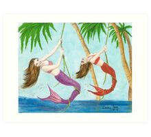 Mermaids Rope Swinging Cathy Peek Fantasy Art Print