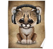 Cute Cougar Cub Dj Wearing Headphones  Poster