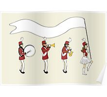 Marching Band with Blank Banner Poster