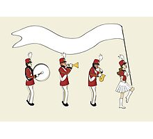 Marching Band with Blank Banner Photographic Print