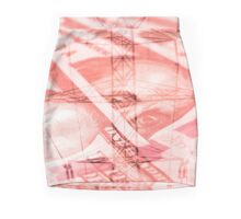 Double exposure high voltage power lines with hundred dollar bill background Mini Skirt