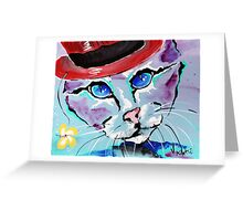 Cat With A Red Hat - Animal Art by Valentina Miletic Greeting Card