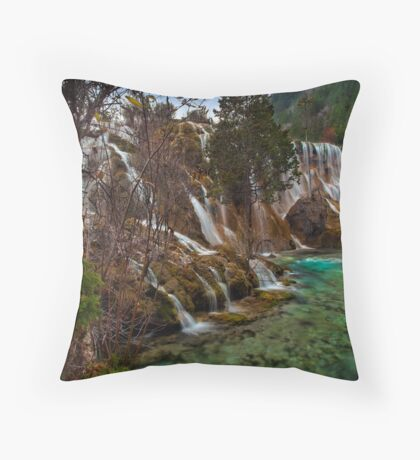Pearls and Turquoise Throw Pillow
