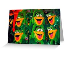 Goofy Green Monkeys Greeting Card