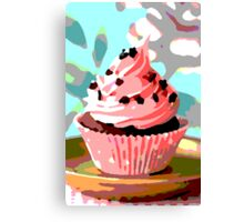 Chocolate Cupcakes with Pink Buttercream Canvas Print