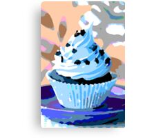 Chocolate Cupcakes with Blue Buttercream Canvas Print