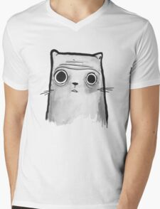 Grey Cat Mens V-Neck T-Shirt