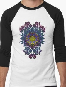 Psychedelic Fractal Manipulation Pattern Men's Baseball ¾ T-Shirt