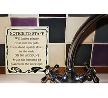 Notice to Staff Photographic Print
