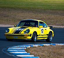 Yellow Porsche 911 Eastern Creek HSRCA Meet - June by Tom Row