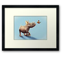Baby Rhino and Butterfly Framed Print