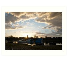 Small boats on the river Sava Art Print
