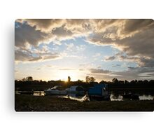 Small boats on the river Sava Canvas Print