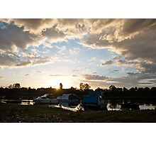 Small boats on the river Sava Photographic Print