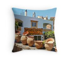 Pottery shop in Margarites Throw Pillow