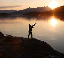 Angling at a Norwegian fjord by intensivelight