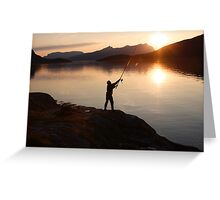 Angling at a Norwegian fjord Greeting Card