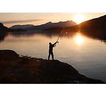 Angling at a Norwegian fjord Photographic Print