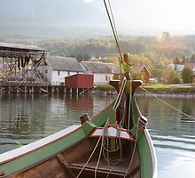 Norwegian Norrlandsboat in a harbor by intensivelight