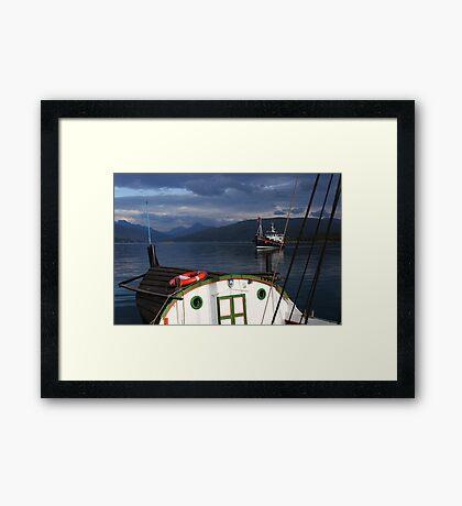 Ships in a Norwegian fjord Framed Print