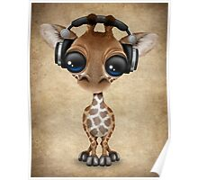 Cute Baby Giraffe Dj Wearing Headphones  Poster