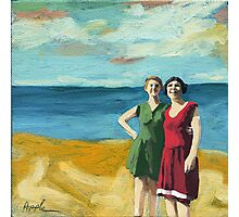 Friends On the Beach - women beach scene oil painting Photographic Print