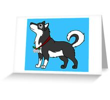 Black Alaskan Malamute with Silver Jingle Bells & Holly Greeting Card