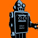 Silver Bullet Tin Toy Retro Robot On Orange by johnwgolden
