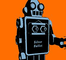 Silver Bullet Tin Toy Retro Robot On Orange by johnwgolden