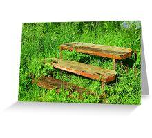 A Rustic Seat By An Irish Lake Greeting Card