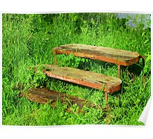A Rustic Seat By An Irish Lake Poster