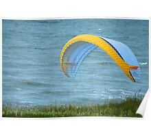 Paraglider behind a cliff Poster
