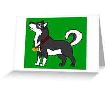 Black Alaskan Malamute with Gold Jingle Bells & Holly Greeting Card