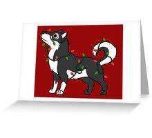 Black Alaskan Malamute with Red & Green Christmas Lights Greeting Card