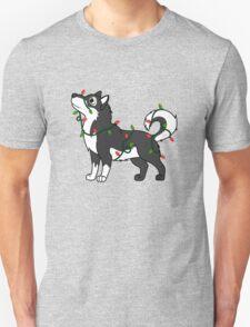 Black Alaskan Malamute with Red & Green Christmas Lights T-Shirt