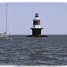 """Sailing passed Peck's Ledge Lighthouse by Christine """"Xine"""" Segalas"""