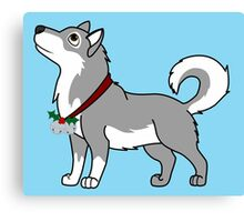 Gray Alaskan Malamute with Silver Jingle Bells & Holly Canvas Print