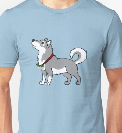 Gray Alaskan Malamute with Silver Jingle Bells & Holly Unisex T-Shirt