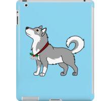 Gray Alaskan Malamute with Silver Jingle Bells & Holly iPad Case/Skin