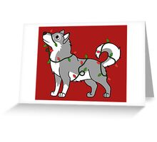 Gray Alaskan Malamute with Red & Green Christmas Lights Greeting Card