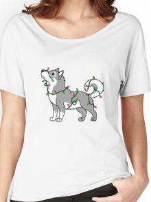 Gray Alaskan Malamute with Red & Green Christmas Lights Women's Relaxed Fit T-Shirt