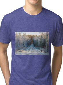 The border between Winter and Autumn Tri-blend T-Shirt