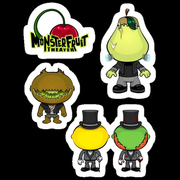 MonsterFruit Theater Large Sticker Sheet 1 by Allison Bair